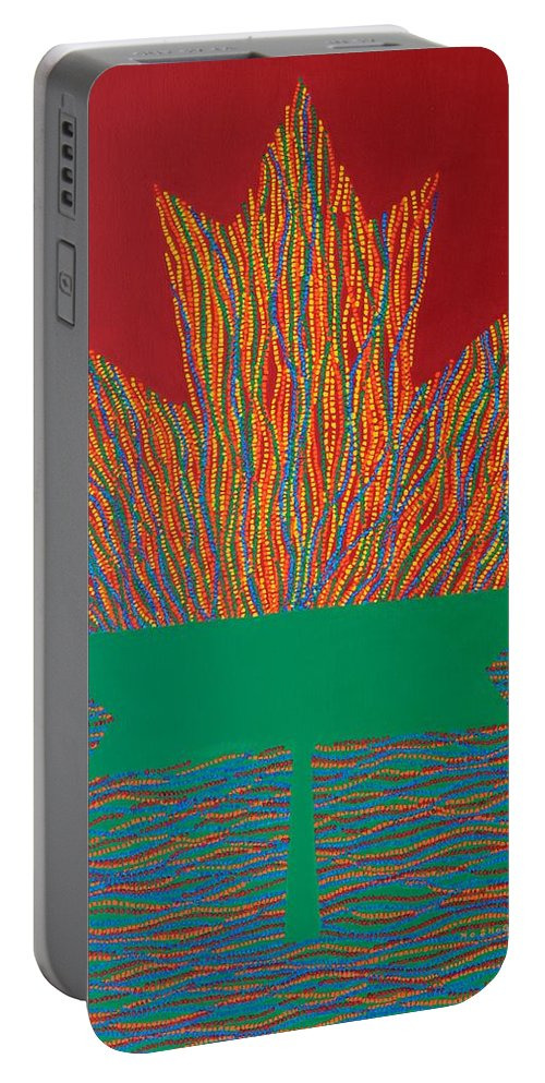 Modern Portable Battery Charger featuring the painting Oh Canada 3 by Kyung Hee Hogg