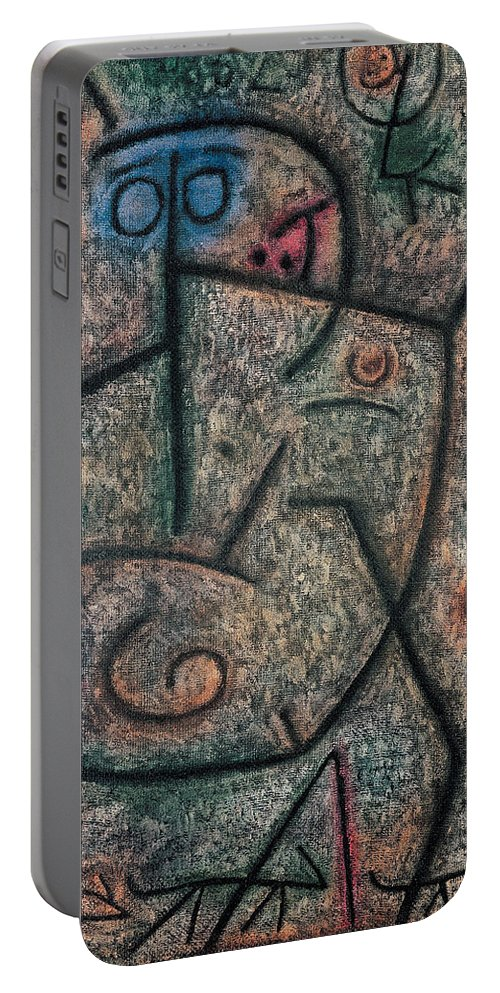 Paul Klee Portable Battery Charger featuring the painting Oh These Rumors by Paul Klee