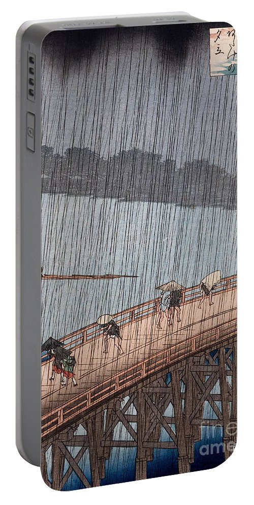 Ohashi Portable Battery Charger featuring the painting Ohashi Sudden Shower At Atake by Ando Hiroshige