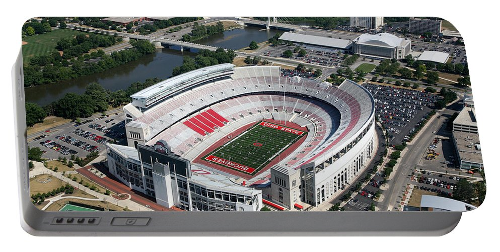 Columbus Portable Battery Charger featuring the photograph Ohio Stadium Aerial by Bill Cobb