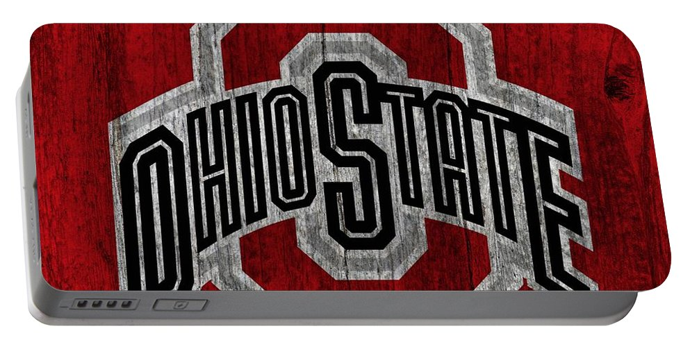 Ohio State University On Worn Wood Portable Battery Charger featuring the digital art Ohio State University On Worn Wood by Dan Sproul