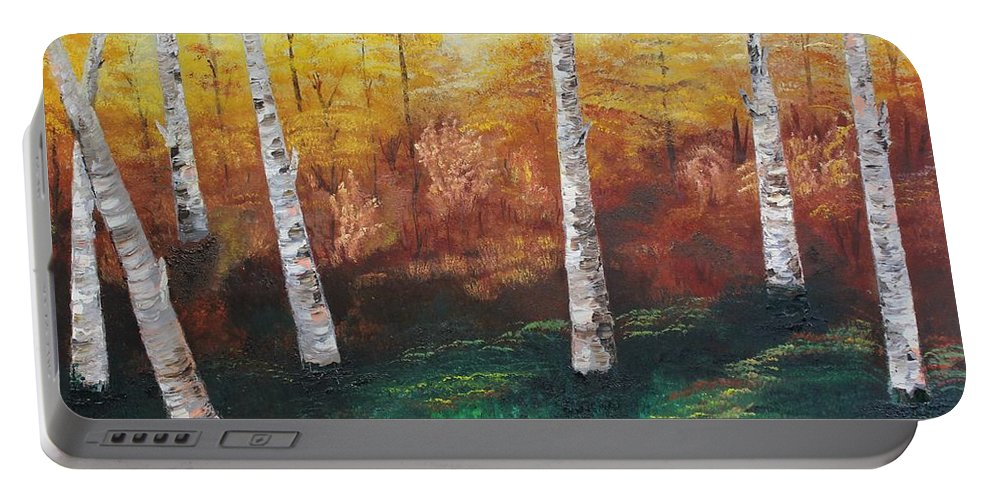 Originals Portable Battery Charger featuring the painting Oil Msc 005 by Mario Sergio Calzi