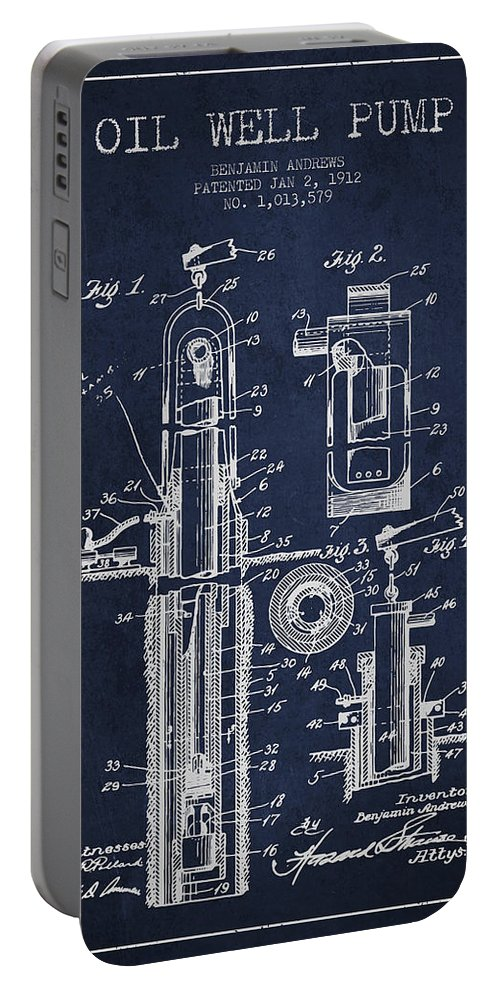 Well Drilling Portable Battery Charger featuring the digital art Oil Well Pump Patent From 1912 - Navy Blue by Aged Pixel