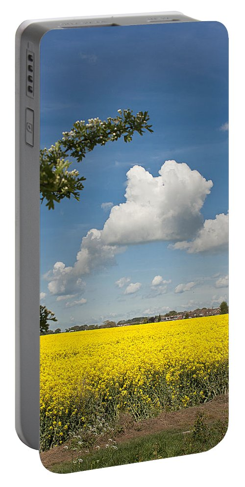 Oilseed Portable Battery Charger featuring the photograph Oilseed Rape Field Against Blue Sky by Peter Lloyd