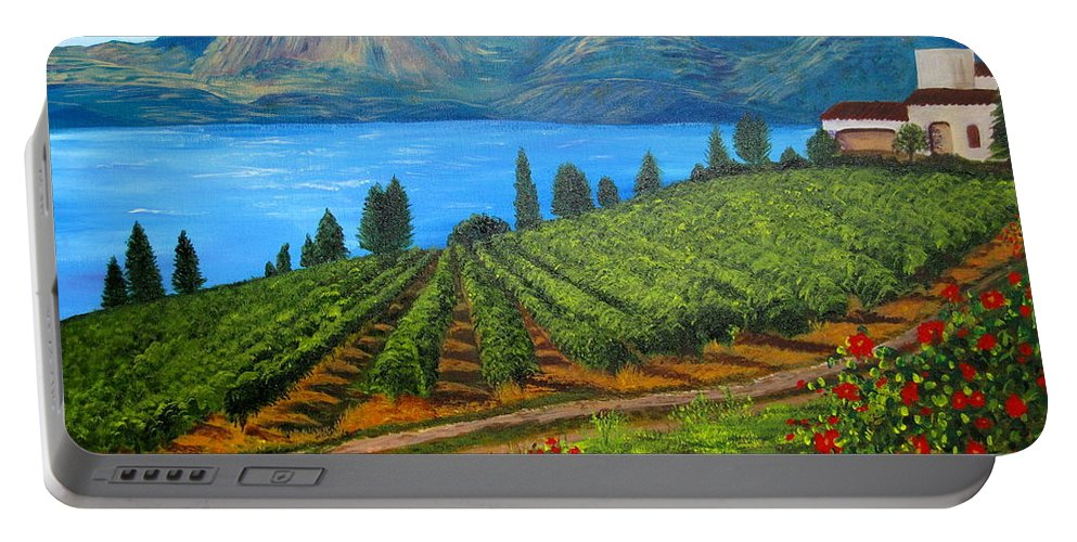 Okanagan Vineyards Portable Battery Charger featuring the painting Okanagan Vineyard by Alicia Fowler