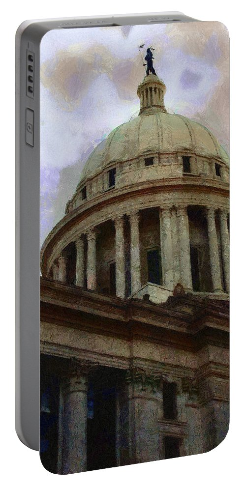 Architecture Portable Battery Charger featuring the painting Oklahoma Capital by Jeffrey Kolker