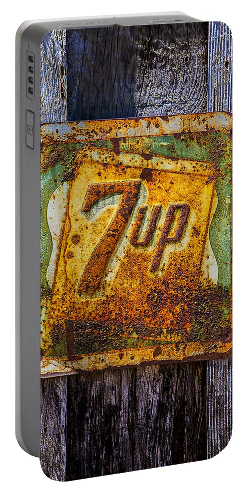 Old 7 Up Sign Portable Battery Charger featuring the photograph Old 7 Up Sign by Garry Gay