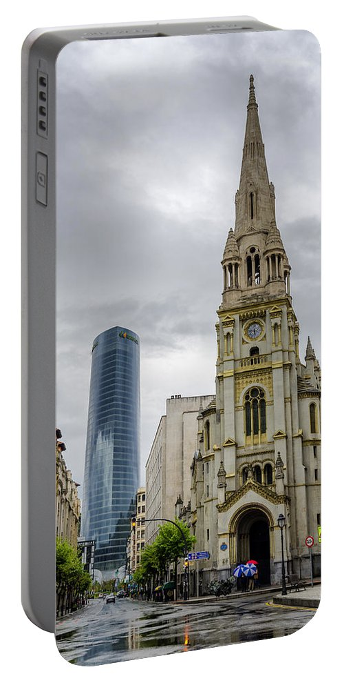 Bilbao Portable Battery Charger featuring the photograph Old And New by Pablo Lopez