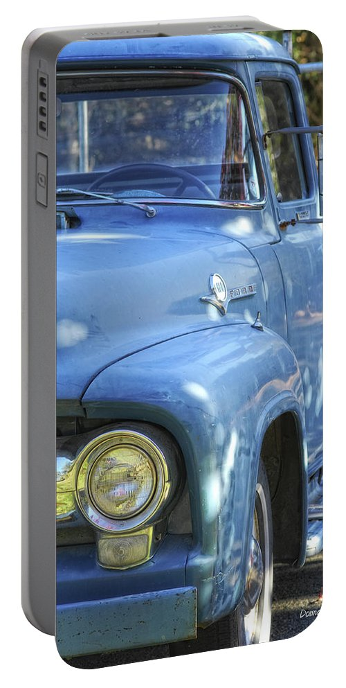 Ford Portable Battery Charger featuring the photograph Old Blue by Donna Blackhall