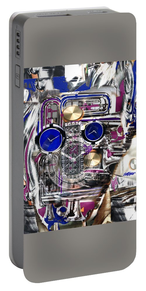 Robotic Time Traveller Portable Battery Charger featuring the digital art Old Blue Eyes by Seth Weaver