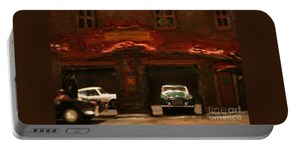 Classic Cars Portable Battery Charger featuring the photograph Old Brooklyn Garage by William Bezik