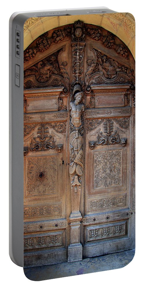 Door Portable Battery Charger featuring the photograph Old Carved Church Door by Christiane Schulze Art And Photography