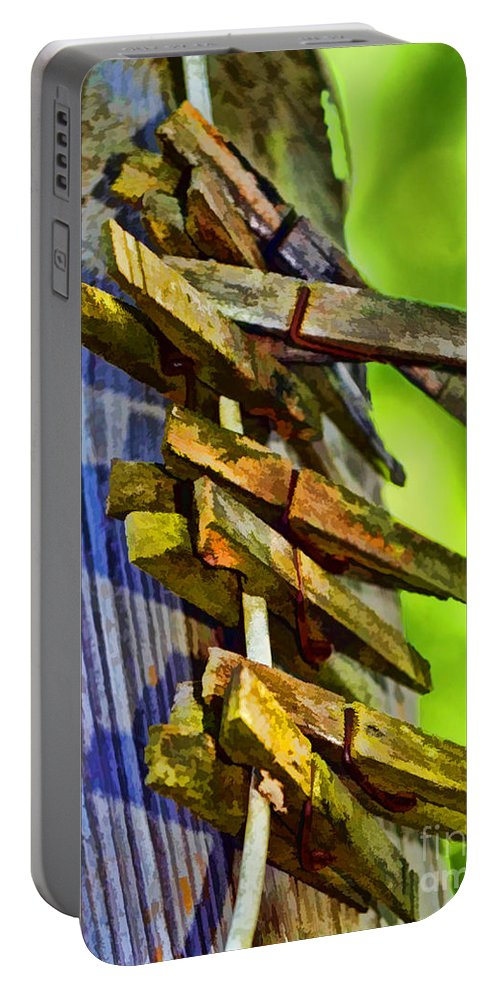 Rustic Portable Battery Charger featuring the photograph Old Clothes Pins II - Digital Paint by Debbie Portwood