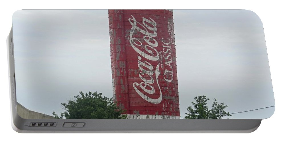Coca-cola Portable Battery Charger featuring the photograph Old Coke Silo by Aaron Martens