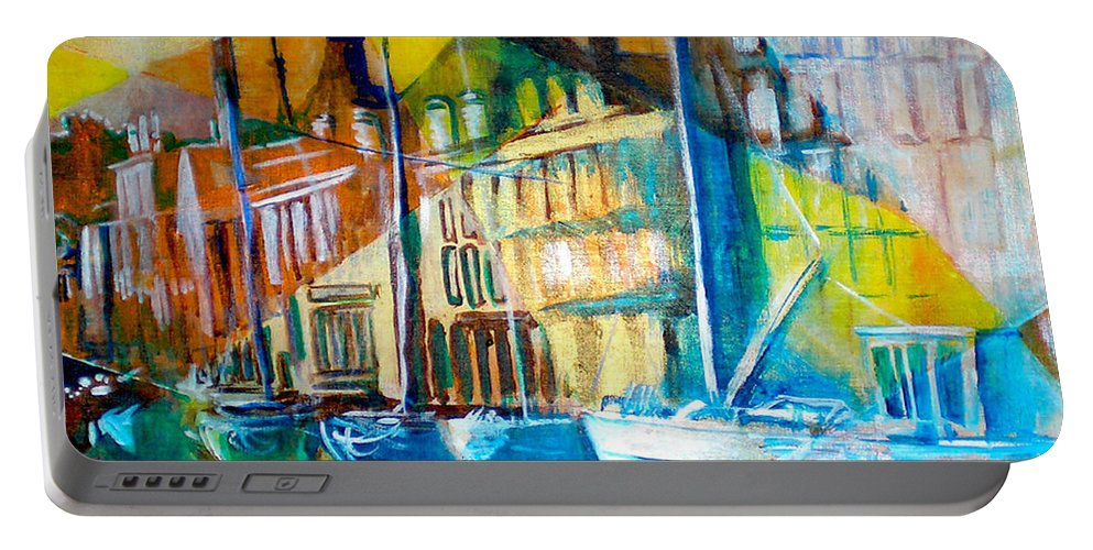 Old World Street Portable Battery Charger featuring the painting Old Copenhagen thru Stained Glass by Seth Weaver