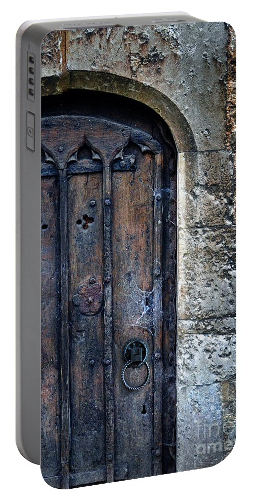 Gothic Portable Battery Charger featuring the photograph Old Door With Spider Webs by Jill Battaglia