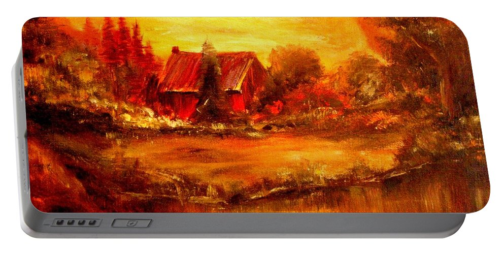 Barn Portable Battery Charger featuring the painting Old Dutch Farm by Jeff Troeltzsch