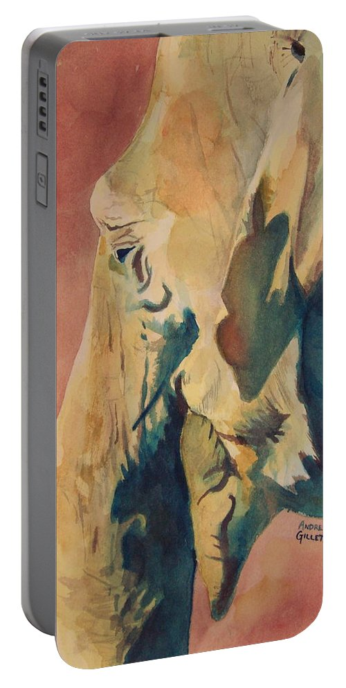 Elephant Portable Battery Charger featuring the painting Old Elephant by Andrew Gillette