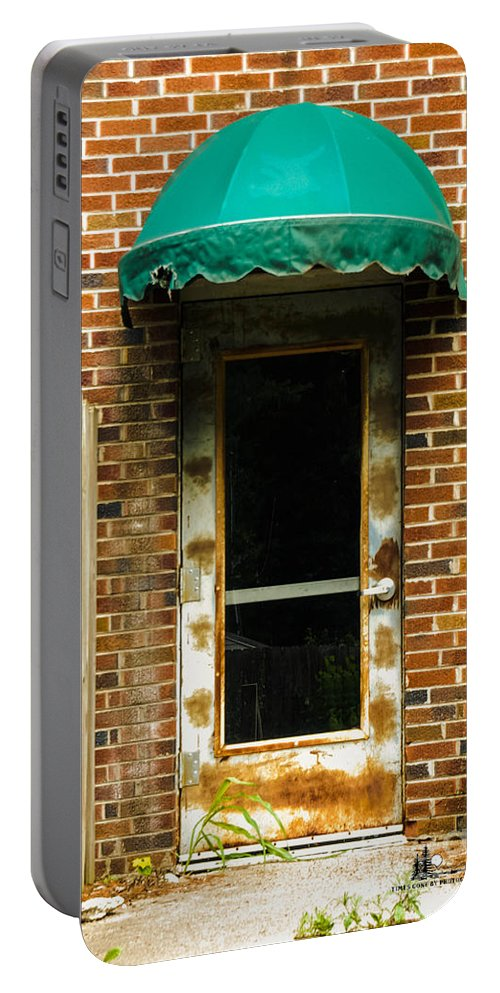 Factory Portable Battery Charger featuring the photograph Old Factory Entrance by Grace Grogan