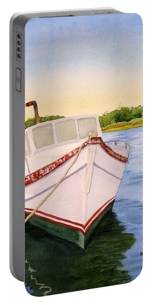 Boat Portable Battery Charger featuring the painting Old Faithful by Julia RIETZ