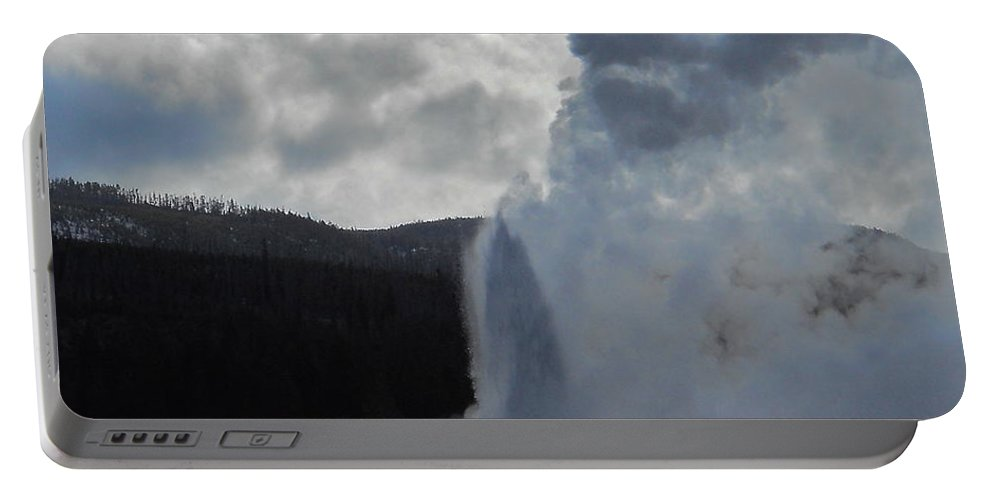 Geyser Portable Battery Charger featuring the photograph Old Faithful Morning by Michele Myers