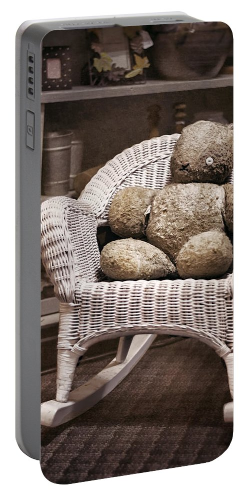 Stuffed Animal Portable Battery Charger featuring the photograph Old Friend by Heather Applegate