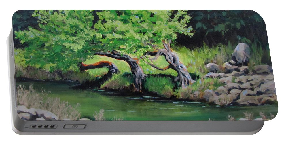 Tree Portable Battery Charger featuring the painting Old Friends by Karen Ilari