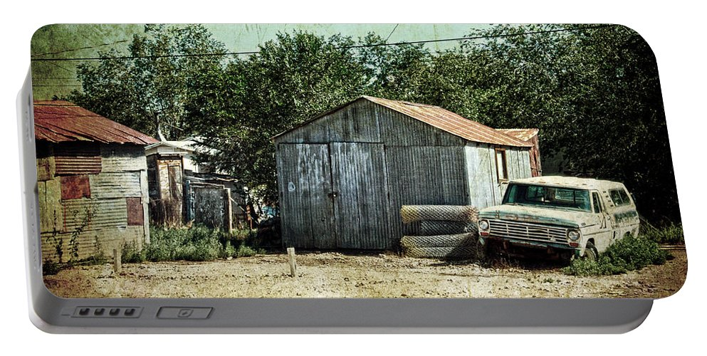 Car Portable Battery Charger featuring the photograph Old Garage And Car In Seligman by RicardMN Photography