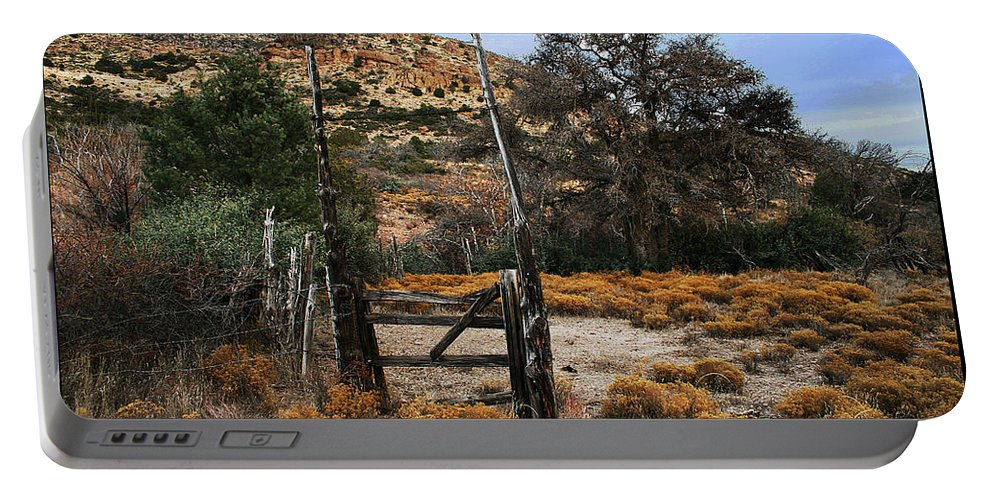 Old Gate At Oak Flats Portable Battery Charger featuring the photograph Old Gate At Oak Flats by Tom Janca