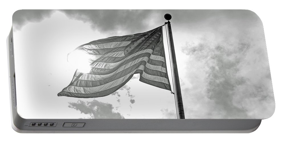 Black And White Portable Battery Charger featuring the photograph Old Glory Bw by Lucy Bounds