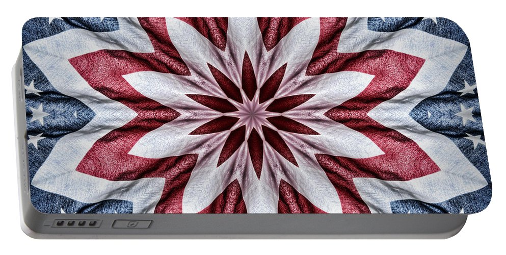 Kaleidoscope Portable Battery Charger featuring the photograph Old Glory by Cricket Hackmann