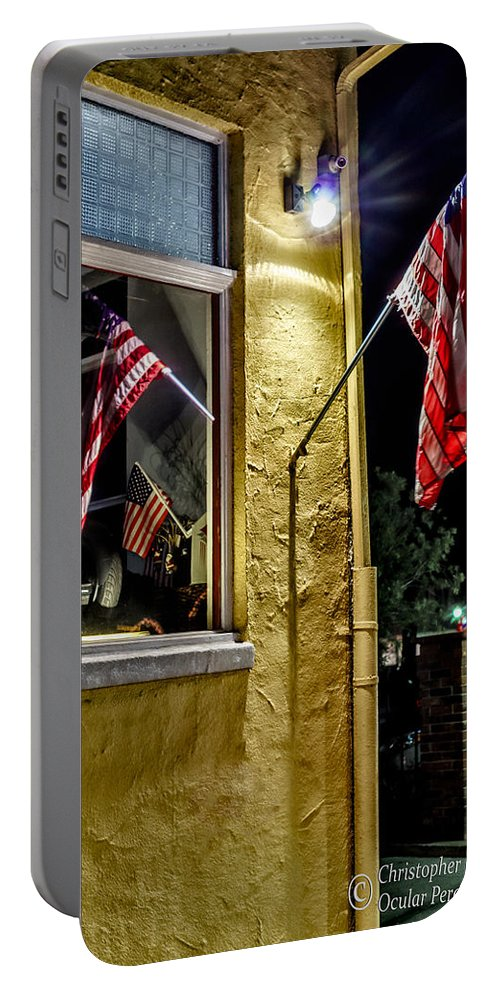 Christopher Holmes Photography Portable Battery Charger featuring the photograph Old Glory Reflected by Christopher Holmes
