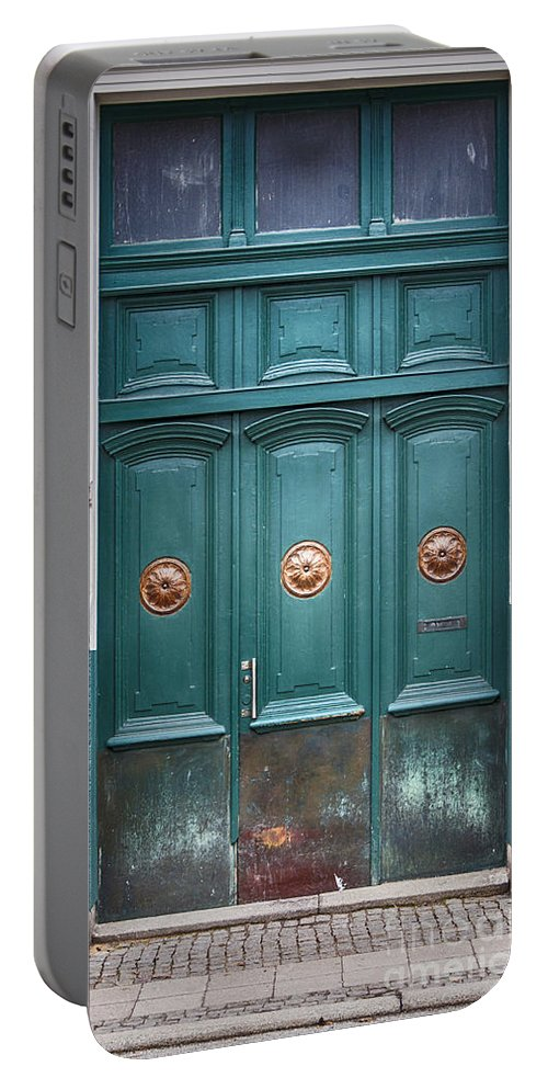 Door Portable Battery Charger featuring the photograph Old Green Door by Antony McAulay