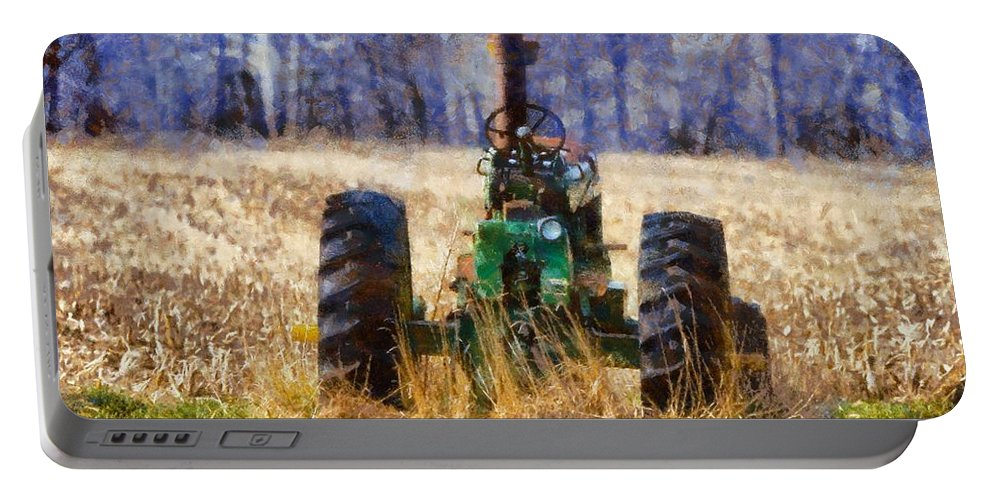 Old Green Tractor On The Farm Portable Battery Charger featuring the painting Old Green Tractor On The Farm by Dan Sproul