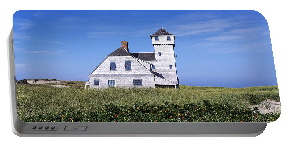 Beach Portable Battery Charger featuring the photograph Old Harbor Life Saving Museum by John Greim
