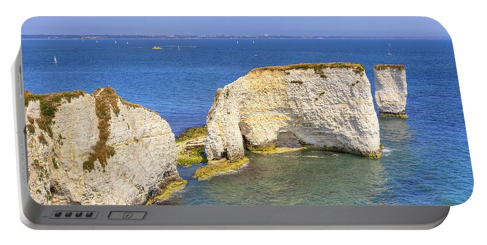 Studland Portable Battery Charger featuring the photograph Old Harry Rocks - Purbeck by Joana Kruse