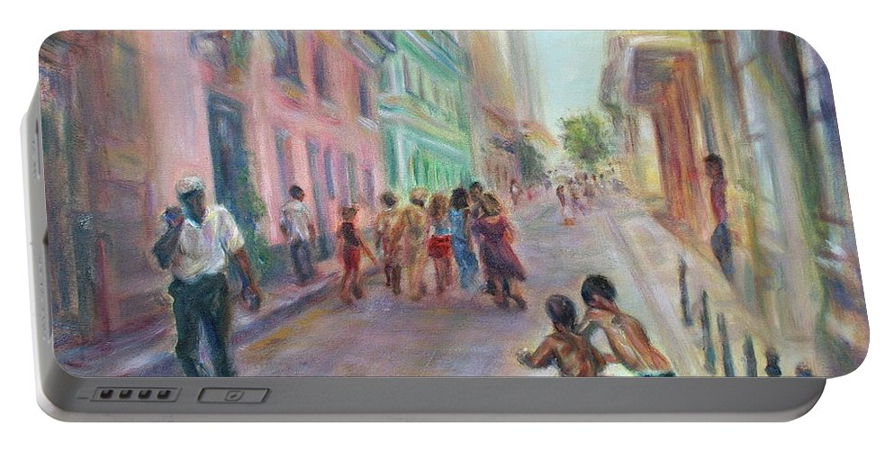 Impressionism Portable Battery Charger featuring the painting Old Havana Street Life - Sale - Large Scenic Cityscape Painting by Quin Sweetman