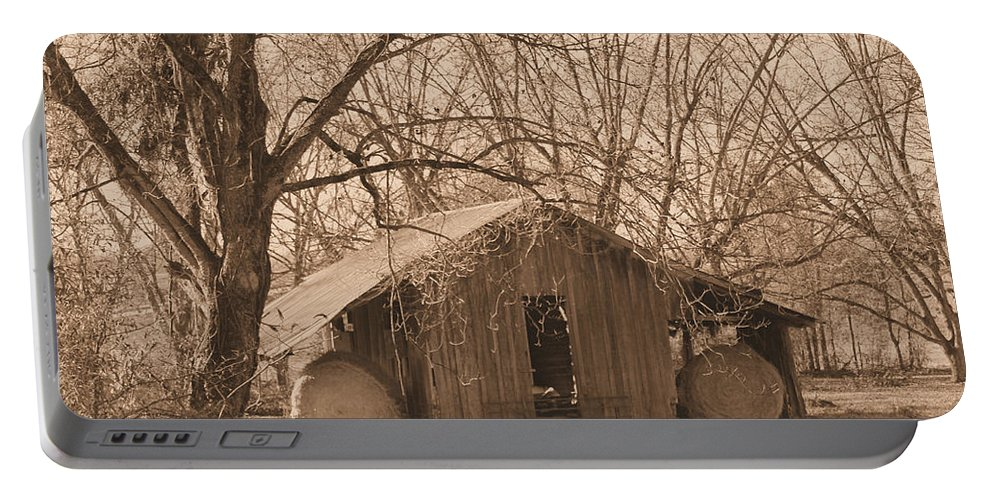Hay Portable Battery Charger featuring the photograph Old Hay Barn by Karen Wagner