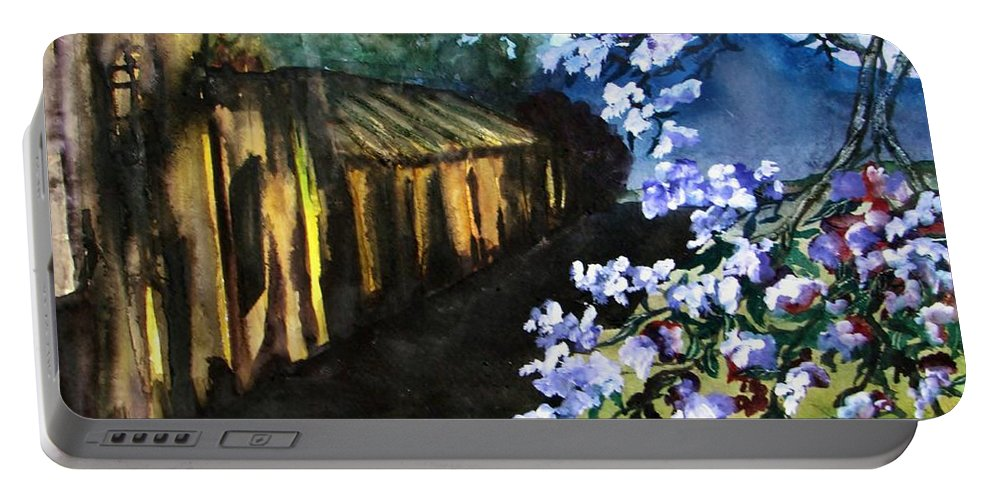 Flowers Portable Battery Charger featuring the painting Old House And New Flowers by Lil Taylor