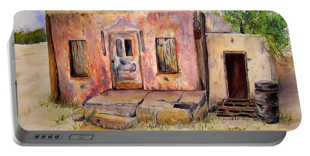 Home Portable Battery Charger featuring the painting Old House In Clovis Nm by Vicki Housel