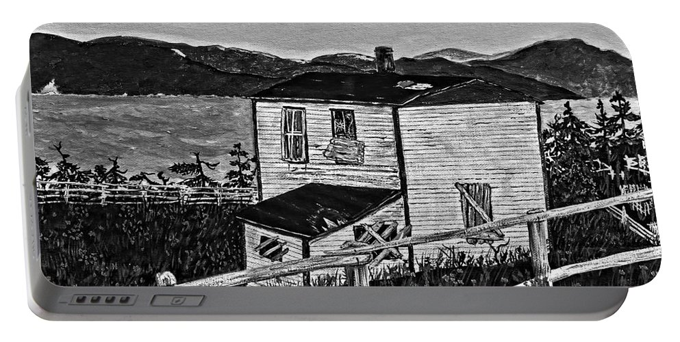 Memories Portable Battery Charger featuring the painting Old House - Memories - Shutters And Boards by Barbara Griffin
