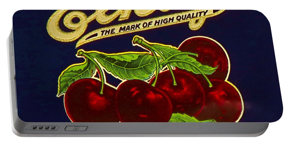 This Is A Photograph Of An Authentic 100 Year Old Food Packaging Label. Portable Battery Charger featuring the photograph Cherries Antique Food Package Label by Robert Birkenes