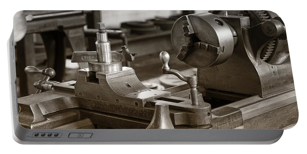 Lathe Portable Battery Charger featuring the photograph Old Lathe by Debby Richards