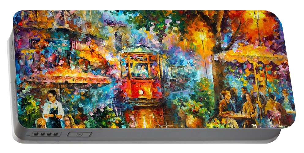 Afremov Painting Palette Knife Art Handmade Surreal Abstract Oil Landscape Original Realism Unique Special Life Color Beauty Admiring Light Reflection Piece Renown Authenticity Smooth Certificate Colorful Beauty Perspective Old Magic Portable Battery Charger featuring the painting Old Magic by Leonid Afremov