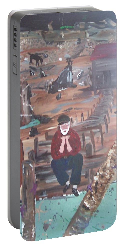Old Man Portable Battery Charger featuring the painting Old Man by Susan Voidets