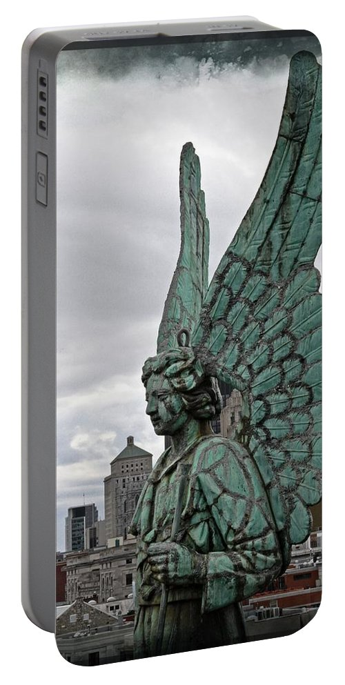 Angel Montreal Filmstrip Lorder Statue Canada Portable Battery Charger featuring the photograph Old Montreal Angel Filmstrip by Alice Gipson