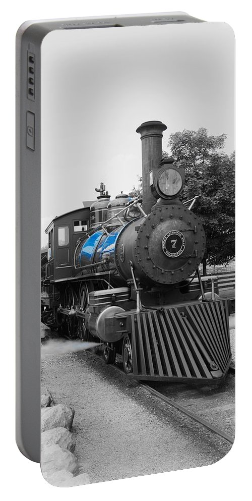 Portable Battery Charger featuring the photograph Old No. 7 Black White And Blue by Daniel Thompson