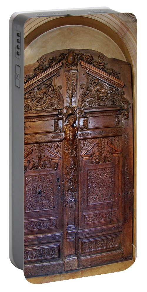 Door Portable Battery Charger featuring the photograph Old Ornamented Door by Christiane Schulze Art And Photography