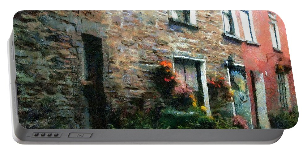 Doors Portable Battery Charger featuring the painting Old Pinchpenny Lane by RC DeWinter