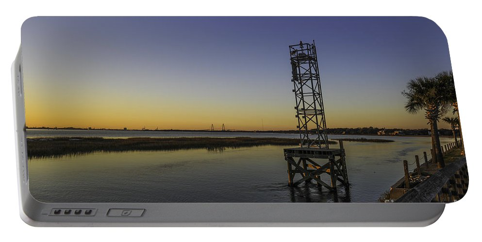 Old Pitt Street Bridge Portable Battery Charger featuring the photograph Old Pit Street Bridge To Ravenel Bridge by Dale Powell